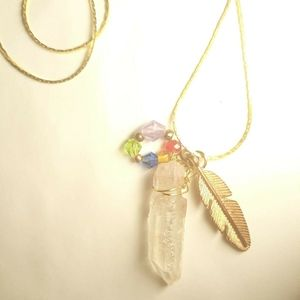Quartz Crystal Point Necklace Ruby Feather